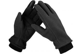 (Large, black) - Bessteven Warm Winter Gloves Goatskin Fingertips Touch Screen Glove Liners with Full Hands Thermal Polar Fleece for Women Driving, Running, Hiking