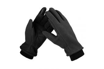 (Medium, black) - Bessteven Warm Winter Gloves Goatskin Fingertips Touch Screen Glove Liners with Full Hands Thermal Polar Fleece for Women Driving, Running, Hiking
