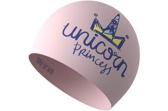 (PINK-Unicorn) - BALNEAIRE Silicone Swim Cap for Women, Waterproof Long Hair Swimming Caps