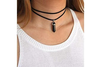 (Black) - Anglacesmade Layered Choker Necklace Crystal Choker Suede Choker Stone Pendant Necklace Bohemia Jewellery for Women and Girls(Black)