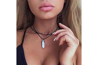 (Blue) - Anglacesmade Layered Choker Necklace Crystal Choker Gem Pendant Necklace Suede Choker Bohemia Jewellery for Women and Girls(Blue)