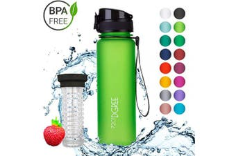 "(500ml, 10 Apple Green | Softtouch) - 720°DGREE Water Bottle ""uberBottle"" +Fruit-Infuser - 350ml, 500ml, 650ml, 1L - BPA-Free Tritan, Leakproof, Reusable - Sports, Drinking Bottle for Gym, Fitness, Kids, Fitness, Cycling, School & Office"