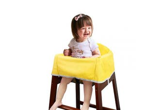 Solfres Dual-Belt High Chair Cover, Baby High Chair Cover with Straps, for Kids Wooden or Restaurant High Chair, Sturdy and Robust Material, Yellow