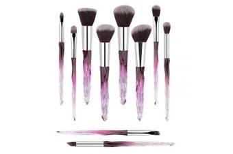 (Purple) - Premium Makeup Brush Set, 10pcs Complete Synthetic Kabuki Eye Shadow Concealer Make Up Brushes Beautiful Crystal Handle(Purple)