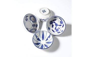 (Floral pattern) - Beautyflier Set of 4 Ceramic Sauce Dish Soy Sauce Dipping Bowls Appetiser Plates Side Dishes Serving Dish Japanese Style Dinnerware Set (Floral pattern)