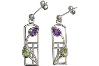 592 Charles Rennie Mackintosh Silver Earrings - Thistle - Amethyst & Peridot. Tarnish Resistant.