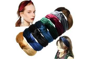 (8 Solid Colors) - 8 Pieces Solid Colours Wide Velvet Headbands Knot Turban Hair Hoops Headband Hair Band Elastic Hair Accessories for Women and Girls
