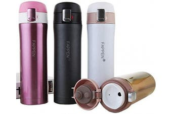 (B-red) - FAPPEN Stainless Steel Insulated Water Bottle,Double Walled Vacuum Flask Thermo |Double Walled Vacuum Insulated Travel Coffee Mug, Sports Water Bottle, Drinks Cup 450ml (Pink)
