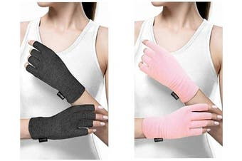 (Medium, Grey) - Copper Compression Arthritis Gloves for Women and Men. Best Copper Infused Fit Glove for Arthritis Hands, Arthritic Fingers, Carpal Tunnel, Computer Typing, Hand Support. Fingerless (1 Pair)