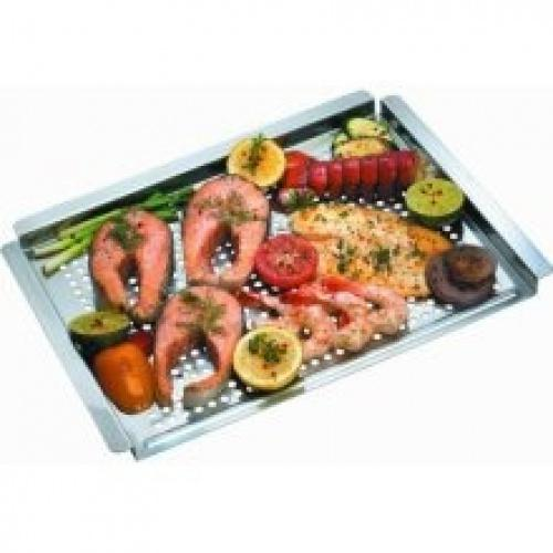 GrillPro 91318 Flat Stainless Steel Grill Topper The stainless steel grill topper is great for grilling delicate and small items without fear of losing your food through the grates. The raised moulded edges keep your food in the topper and allow you to transport food to and from the grill without spilling the contents.