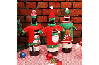 Christmas Wine Bottle Cover Bags, Red Wine Bottle Covers 3pcs for Christmas Decorations Sweater Party Decorations Xmas Holiday Gifts
