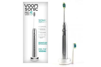 (Silver) - Voom Sonic Pro 5 Series Rechargeable Electronic Toothbrush | Dentist Recommended | Advanced Oral Care | 2 Minute Timer with Quadrant Pacing | 5 Adjustable Speeds | Soft Dupont Nylon Bristles