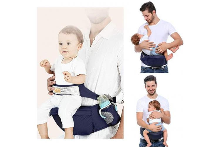 (Dark blue) - Viedouce Hip Seat Baby Carrier with Safety Belt Protection, Pure Cotton, Lightweight Ergonomic Waist Stool,Multi Positions Baby Front Carrier for 3-48 Month (Dark Blue)