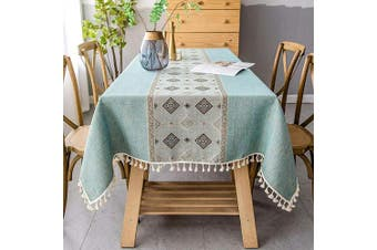 (Square, 140cm  x 140cm , Light Green) - smiry Embroidery Tassel Tablecloth - Cotton Linen Dust-Proof Table Cover for Kitchen Dining Room Party Home Tabletop Decoration (Square, 140cm x 140cm , Light Green)