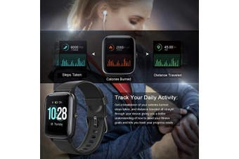 (Black) - Letsfit Smart Watch, Fitness Tracker with Heart Rate Monitor, Activity Tracker with 3.3cm Touch Screen, IP68 Waterproof Pedometer Smartwatch with Sleep Monitor, Step Counter for Kids, Women and Men