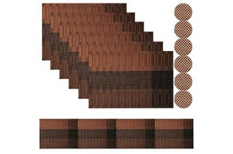 (Brown-01, Set of 6 Placemats and Table Runner 180cm) - Famibay PVC Placemats with Coasters Set of 6 and Table Runner 180cm Heat Resistant Weave Table Mats for Kitchen Table(Brown)