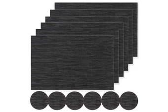 (02-black, Set of 6 placemats and coasters) - Famibay Black Placemats and Coasters Set of 6 Washable PVC Table Mats Drink Cup Coasters Mats