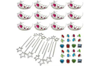 Podzly 48 Piece Princess Jewellery Accessory Toy Pretend Play Set - Tiaras, Princess Wands, Jewelled Rings