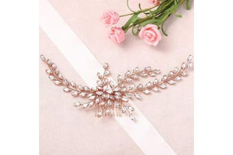 (Rose Gold) - Asooll Wedding Crystal Hair Comb Bride Rhinestones Hair Pieces Bridal Hair Clips Accessories for Women and Girls (Rose Gold)