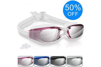 (Pink-) - arteesol Swim Goggles Anti Fog Crystal Clear 180° Panoramic Vision Swimmiing Goggles Mirrored with 100% UV Protective Coating with Protective Case and Earplug for Adults(6 Colours