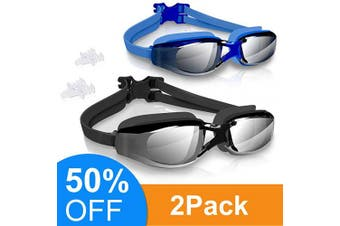 (Black+Blue) - arteesol Swim Goggles Anti Fog Crystal Clear 180° Panoramic Vision Swimmiing Goggles Mirrored with 100% UV Protective Coating with Protective Case and Earplug for Adults(6 Colours