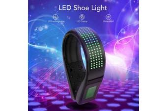 (Green) - BASEIN LED Shoe Clip, LED Safety Light Clip On, USB Charging, IP67 Waterproof, 11 Flashing Modes Running Light for Runners Shoes, Ideal for Night Running, Jogging, Cycling, Climbing