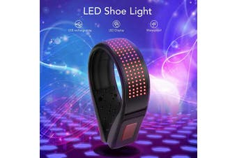 (Red) - BASEIN LED Shoe Clip, LED Safety Light Clip On, USB Charging, IP67 Waterproof, 11 Flashing Modes Running Light for Runners Shoes, Ideal for Night Running, Jogging, Cycling, Climbing