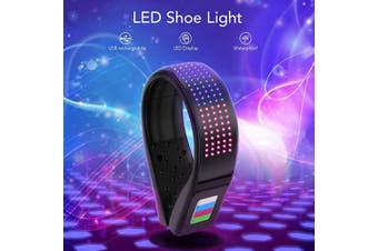 (Colorful) - BASEIN LED Shoe Clip, LED Safety Light Clip On, USB Charging, IP67 Waterproof, 11 Flashing Modes Running Light for Runners Shoes, Ideal for Night Running, Jogging, Cycling, Climbing