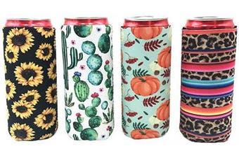 (Colorful_C) - 4pcs Neoprene Slim Beer Can Cooler Tall Stubby Holder Foldable Stubby Holders Beer Cooler Bags Fits 350ml Slim Energy Drink & Beer (Colorful_C)