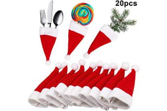 LUTER 20 Pieces Mini Christmas Hats Christmas Cutlery Tableware Holders Mini Santa Hats for Silverware Holders, Candy Covers, Wine Bottle Decor (19cm x 8.4cm )
