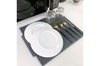 DaQi Premium Large Silicone Dish Drying Mat,Multi-Functional Draining Board Mat for Kitchen,Heat Resistant,Non-Slip,Folding Draining Board Mat(43cm x 33cm ,Gery)