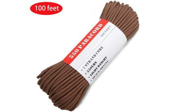 (100.0 Feet, Chocolate Brown) - BENGKU Outdoor Survival Mil-SPEC 250kg Paracord/Parachute Cord(MIl-C-5040-H),30m