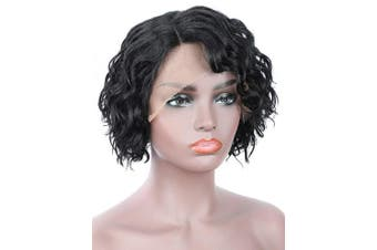 (1B) - Beauart 100% Human Hair Lace Front Wigs for Black Women Side Parted 25cm Short Black Loose Curly Bob Human Hair Wigs for Women