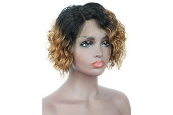 (T1B/30) - Beauart 100% Human Hair Lace Front Wigs for Black Women Side Parted 25cm Ombre Brown Short Loose Curly Bob Human Hair Wigs for Women