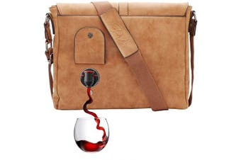 (Camel) - PortoVino Wine Messenger Bag - (Camel) - With Hidden, Insulated Compartment, Holds 2 Bottles Of Wine!