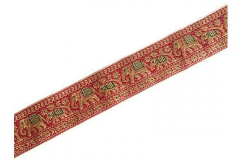 (3 yards, pinkish red) - Brocade Ribbon in Pinkish Red and Gold for Sewing Indian Jacquard Trim Elephant Pattern 3 Yards by Craftbot