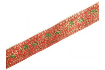 (3 yards, red) - Indian Jacquard Brocade Trim in Red and Gold Elephant Motif for Sewing and Crafts 3 Yards by Craftbot