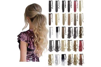 (46cm -Curly, Light Chestnut Brown-Curly) - Ponytail Extension Wrap Around 46cm 60cm Synthetic Drawstring Hair Piece Clip in Hair extensions Light Chestnut Brown