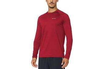 (Small, Dark Red) - BALEAF Men's Long Sleeve Running Shirt Cool Workout Tee
