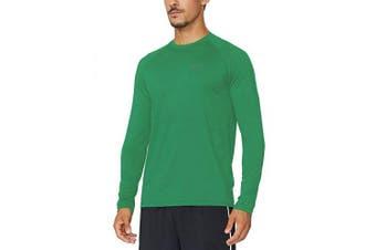 (Small, Forest Green) - BALEAF Men's Long Sleeve Running Shirt Cool Workout Tee