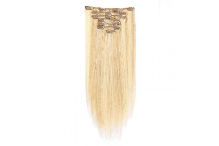 (50cm , #27P613 Dark Blonde mix Blonde) - TD-HAIR 100% Remy Human Hair Clip in Hair Extensions for Women, 120g 7pcs Thickened Double Weft Silky Straight Virgin Clip in Hair Extensions Highlight Human Hair with 17 Clips (50cm , 27P613)