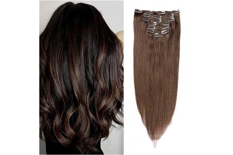 (41cm , #2 Dark Brown) - TD-HAIR 100% Remy Human Hair Clip in Hair Extensions for Women 120g 7pcs Thickened Double Weft Silky Straight Virgin Clip in Hair Extensions Human Hair with 17 Clips (41cm , 2 Dark Brown)