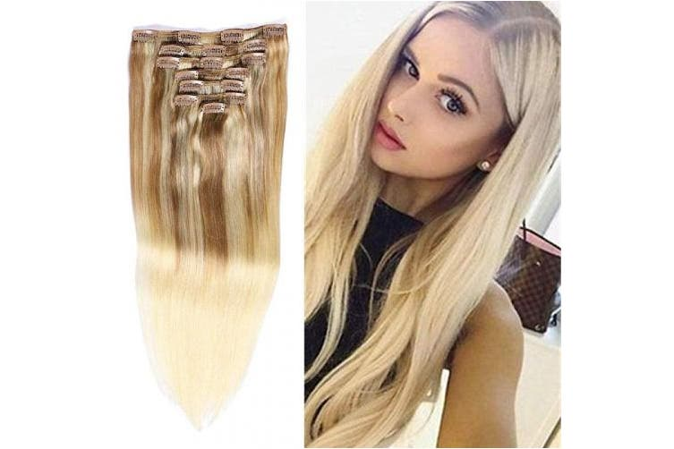 (60cm , #(12T613)P613) - TD-HAIR 100% Remy Human Hair Clip in Hair Extensions for Women 120g 7pcs Thickened Double Weft Silky Straight Clip in Hair Extensions Human Hair with 17 Clips Ombre Blonde (60cm , (12T613) P613)