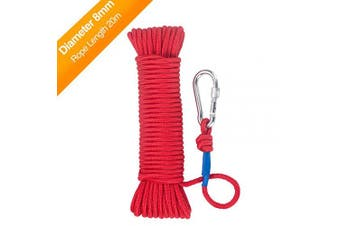 (Red(Diameter 8mm)) - Wukong Fishing Magnet Rope 20 Metres, Heavy Rope with Safety Lock,Diameter 6mm/8mm Safe and Durable