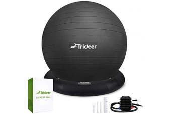 (65 cm, Black) - Trideer Ball Chair - Exercise Stability Yoga Ball with Base for Home and Office Desk, Ball Seat, Flexible Seating with Pump, Improves Balance, Back Pain, Core Strength & Posture