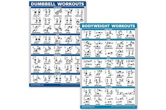 (LAMINATED, 46cm  x 70cm ) - Quickfit Dumbbell Workouts and Bodyweight Exercise Poster Set - Laminated 2 Chart Set - Dumbbell Exercise Routine & Body Weight Workouts