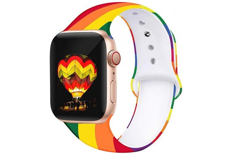 (40/38mm M/L, Oblique rainbow) - Kaome Floral Bands Compatible with Apple Watch 38mm 40mm 42mm 44mm, Soft Silicone Fadeless Pattern Printed Replacement Strap Bands for Women, Compatible with iWatch Series 5/4/3/2/1, S/M M/L