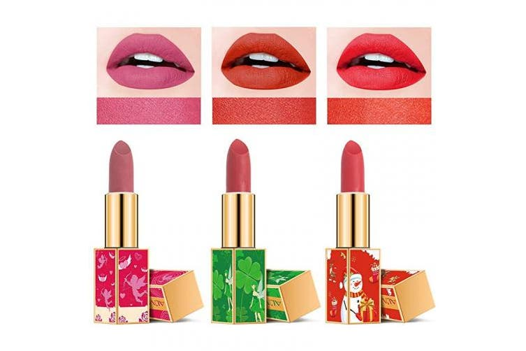 Holiday Lipstick Set,3 Rich Colour Ultra Matte Moisturising Lipsticks, Christmas & Four-Leaf Clover & Valentine Chinese Style, Moisturising and Long Lasting Lipstick, Gift Kit for Women