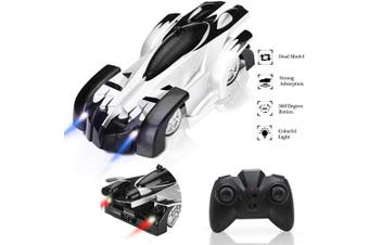 Fivejoy Remote Control Car, Rechargeable Wall Climbing Cars Dual Modes 360°Rotation Stunt Zero Gravity 4WD RC Cars Vehicles Toys, Head Rear LED Lights, Intelligent Glowing USB Cable Gift for Kids