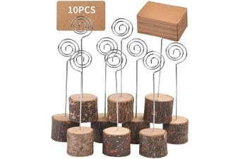 Toncoo 10Pcs Premium Wood Place Card Holders with Swirl Wire and 20 Pcs Kraft Place Cards, Rustic Wood Table Number Holders Stands, Name Cards Photo Holders for Wedding Party Sign Food Cards Label